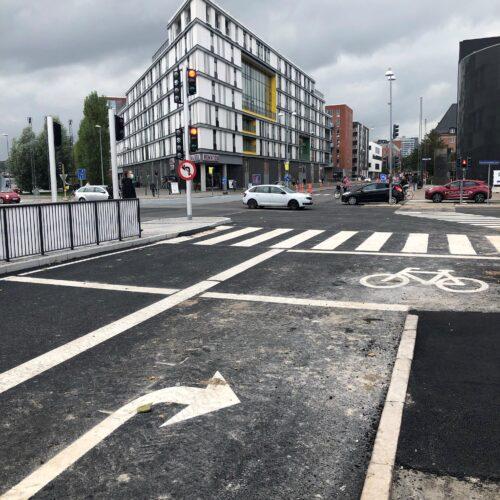 Billedet viser krydset ved Jyllandsgade - Dag Hammarskjølds Gade