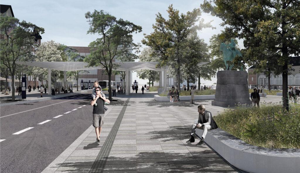 Visualisering af den nye John F. Kennedys Plads